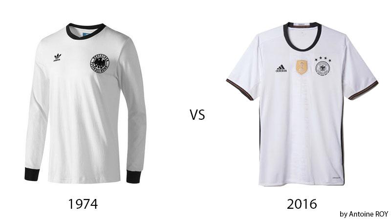 comparaison maillot allemagne 1974 vs 2016