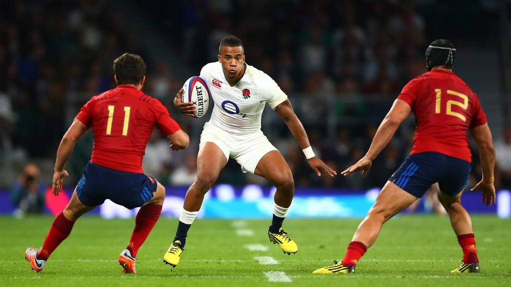 LONDON, ENGLAND - AUGUST 15:  Anthony Watson of England takes on Brice Dulin (L) and Alexandre Dumoulin of France during the QBE International match between England and France at Twickenham Stadium on August 15, 2015 in London, England.  (Photo by Jordan Mansfield/Getty Images)