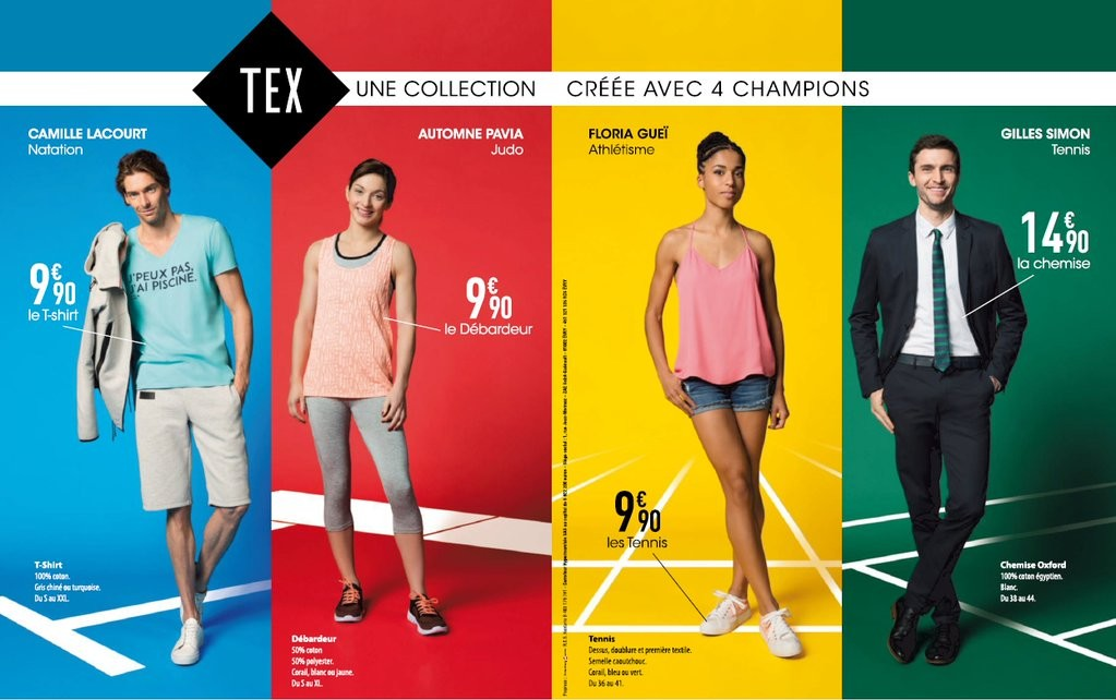 carrefour choisit 4 ambassadeurs sportifs pour sa collection tex. Black Bedroom Furniture Sets. Home Design Ideas