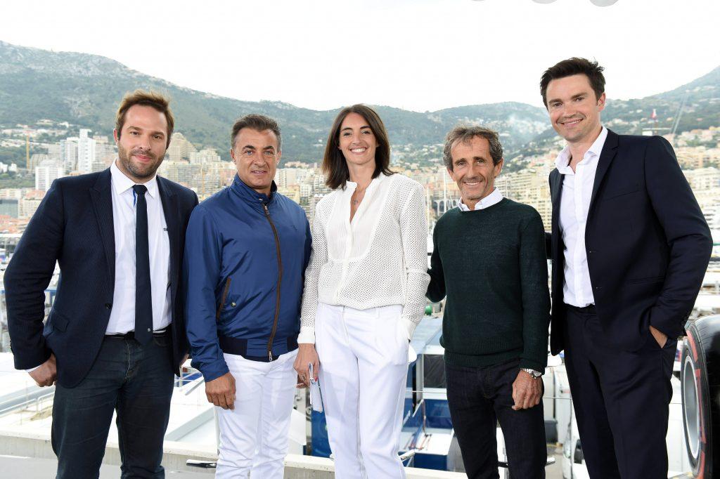 La team Canal+ F1 avec Julien Fébreau, Jean Alesi, Margot Laffite, Alain Prost et Thomas Sénécal