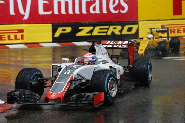 Romain Grosjean sur sa Haas au Grand Prix de Monaco 2016