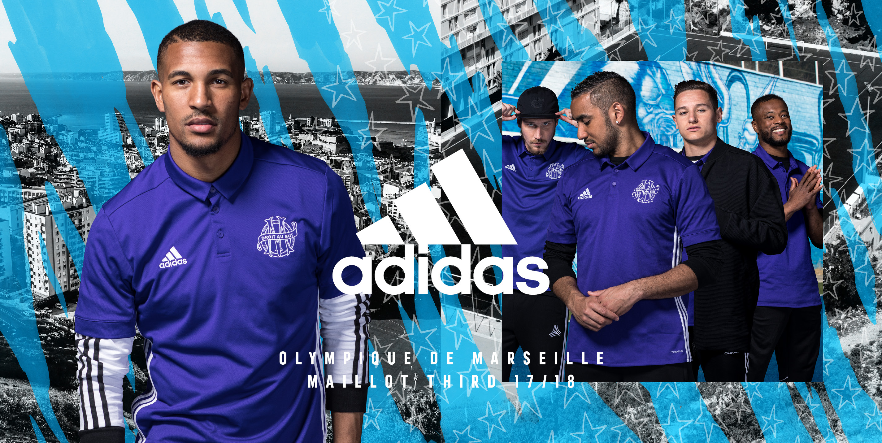 adidas pr sente les nouveaux maillots de l 39 olympique de marseille. Black Bedroom Furniture Sets. Home Design Ideas