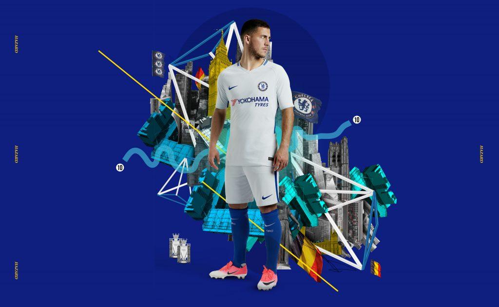 Eden Hazard - maillot extérieur Chelsea 2017-18 - Nike Football