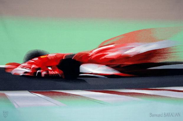 Tapisserie d'Aubusson / Meteora Rossa. Ferrari F1 – Michael Schumacher. « METEORA ROSSA », pour le 60ème anniversaire de Ferrari (2007) et la fin de carrière du septuple champion du Monde de Formule 1. Elle représente la Ferrari F1 de Michael SCHUMACHER, dans la grande courbe à Magny-Cours, pendant le GP de France (03/07/2005). Elle est enregistrée au registre du Syndicat des Artisans Lissiers d'Aubusson sous le numéro AMEXA10886. © Bernard Bakalian