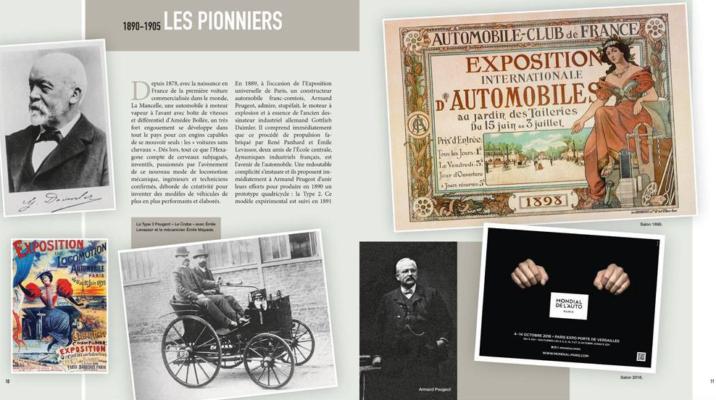Page 11 (droite) 120 ans séparent les deux affiches. La première affiche du premier Salon de l'Auto en 1898 et celle du Mondial de l'Auto 2018