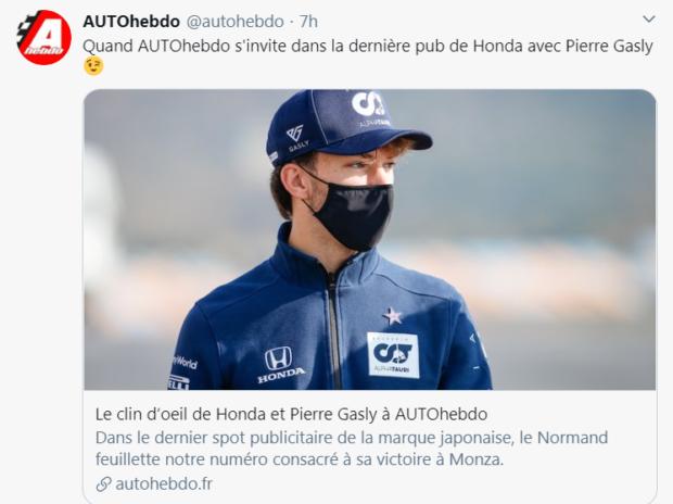 Joli coup pour AUTOhebdo : dans le dernier spot publicitaire de la marque japonaise Honda, Pierre Gasly feuillette le numéro d'AUTOhebdo consacré à sa victoire à Monza !